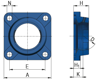 Square Flanged Housing Unit - FG type