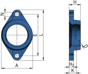 Oval Flanged Cast Housing Unit - FM type